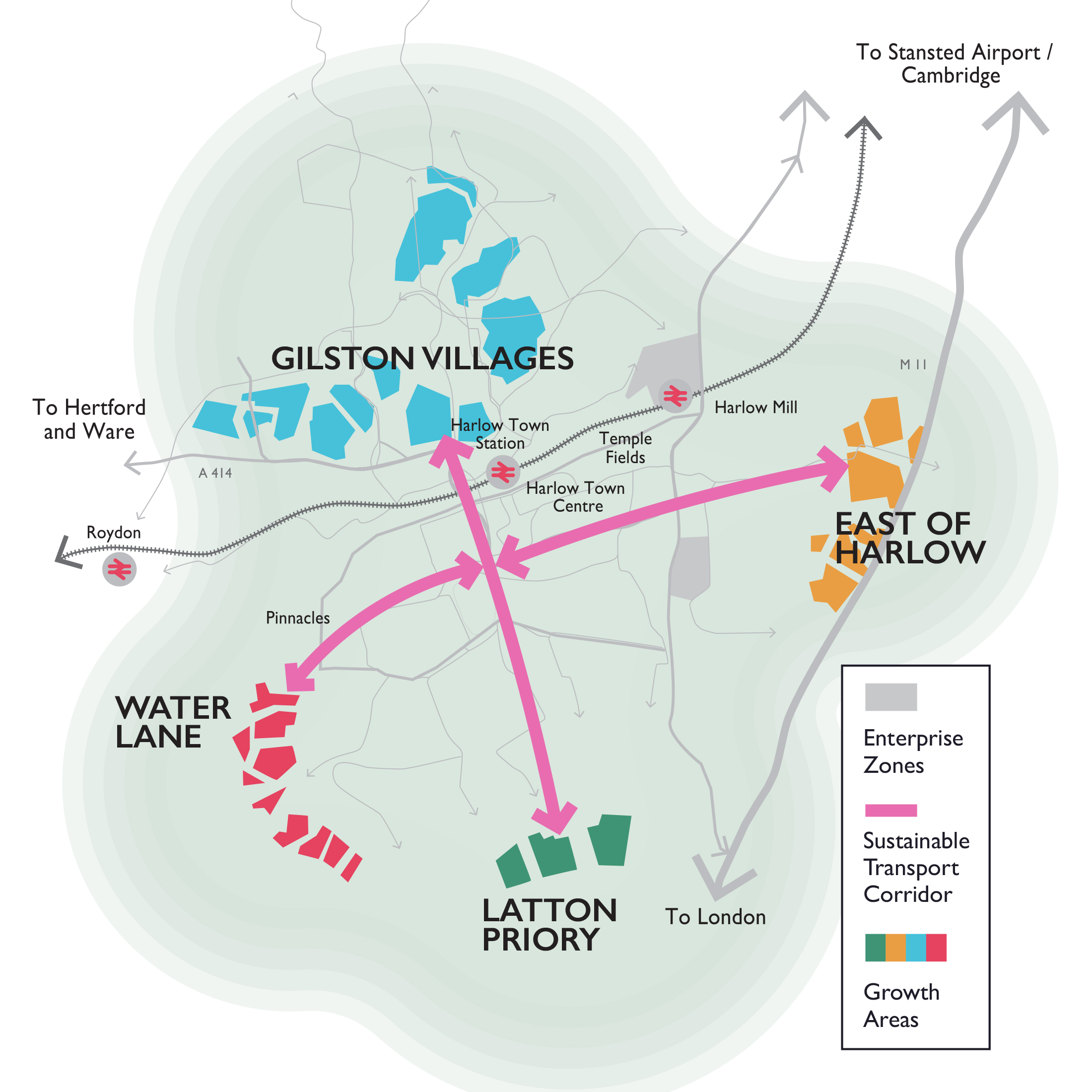 Harlow and Gilston Garden Town map